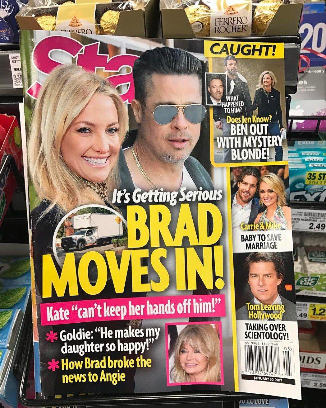 凱特哈德森與布萊德彼特的雜誌封面被她哥哥拿來開玩笑。圖/摘自Instagram