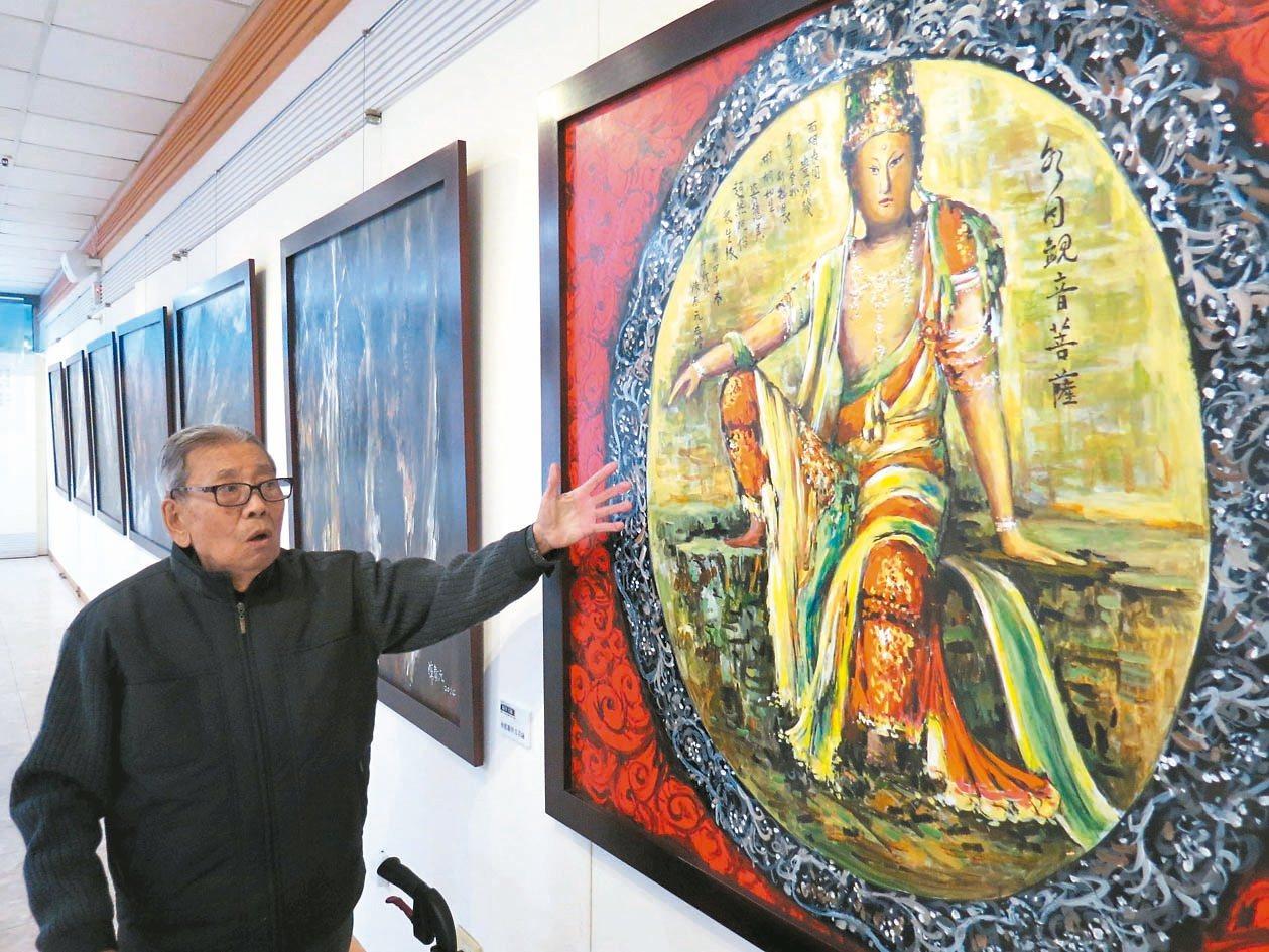 台灣八十三歲前輩畫家陳泰元(圖)直到八十歲仍未畫過佛像,因緣際會窮畢生功力投入佛...