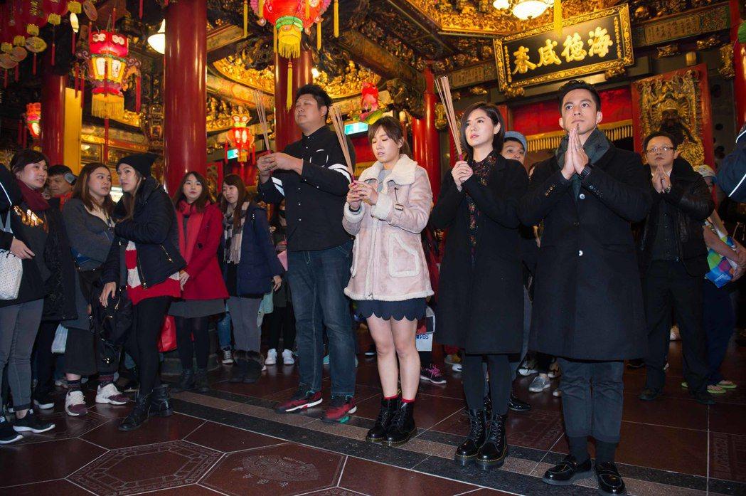 黃遠(右起)、林予晞、方志友、哈孝遠出席點燈活動為新戲宣傳、祈福。圖/TVBS提...