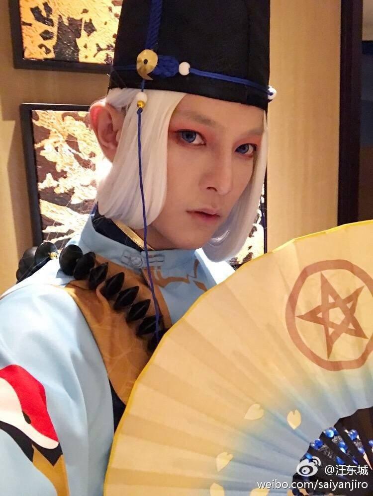 汪東城cosplay「陰陽師」晴明維妙維肖,還原度達百分百。圖/摘自汪東城微博