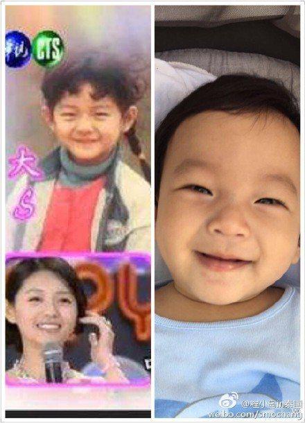 粉絲比照大S小時候的照片,與兒子汪希箖相似度百分百。圖/摘自微博