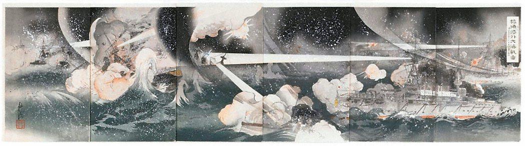 圖1:「 旅順海港外大海戰圖」,大倉耕濤畫,1904年。 圖╱聖路易藝術博物館提...