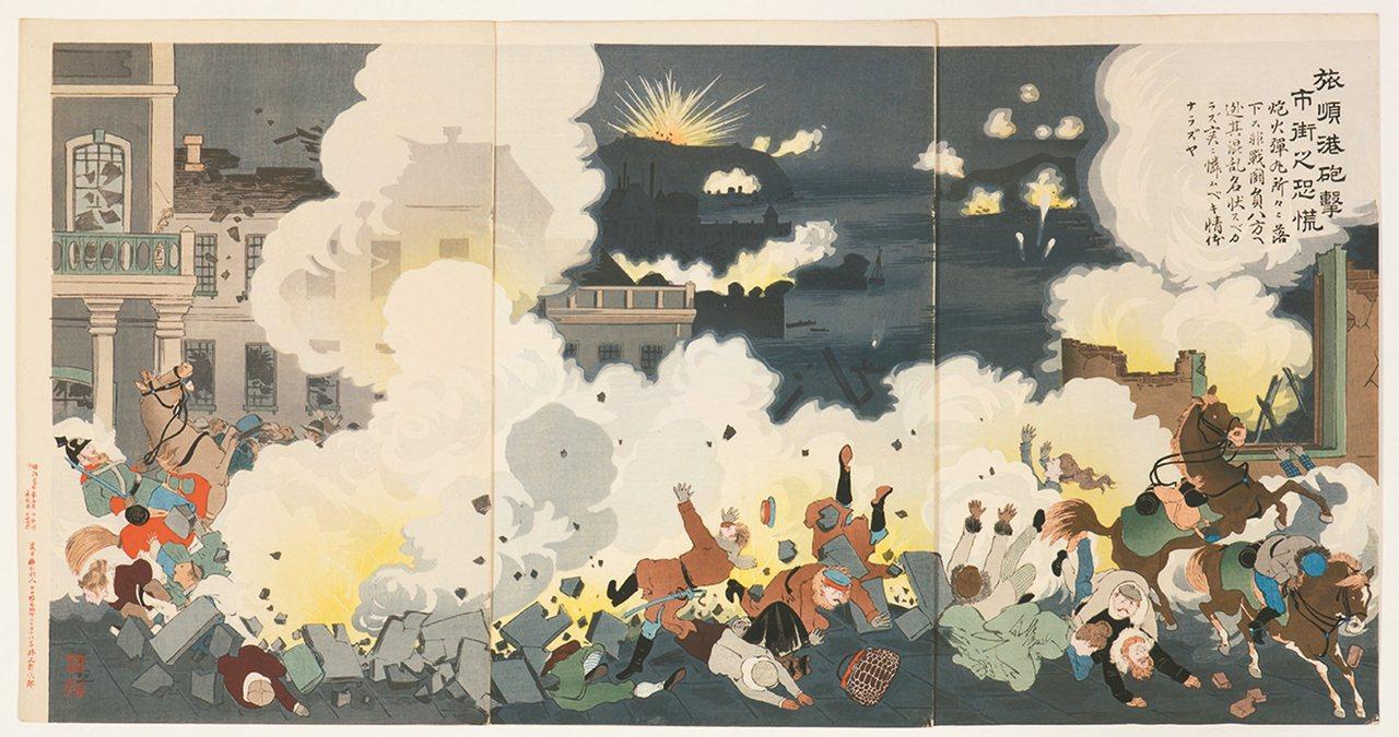 圖4:「旅順港砲擊市街之恐慌」,小林清親畫,1904年。 圖╱聖路易藝術博物館提...