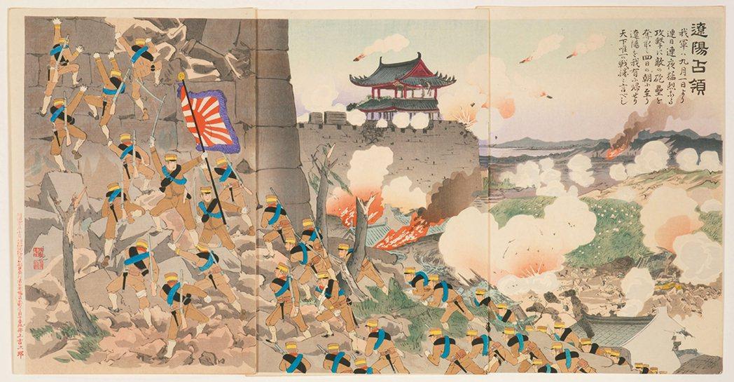 圖5:「遼陽占領」,小林清親畫,1904年。 圖╱聖路易藝術博物館提供