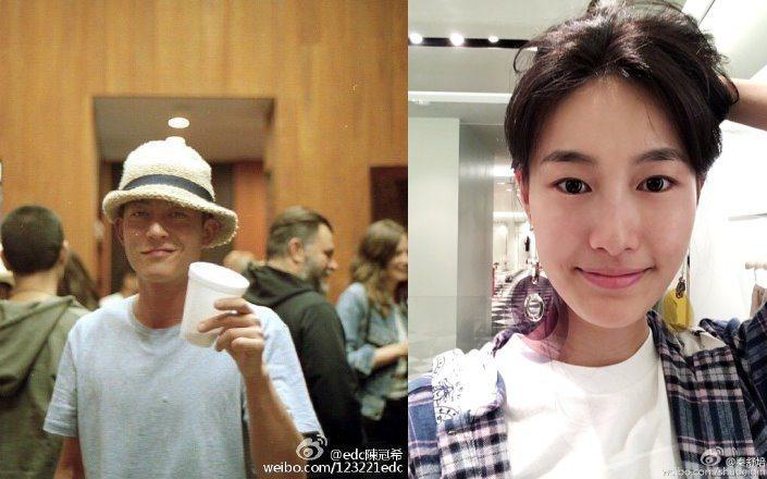 陳冠希(左)的女友秦舒培(右)傳已懷孕。 圖/摘自微博