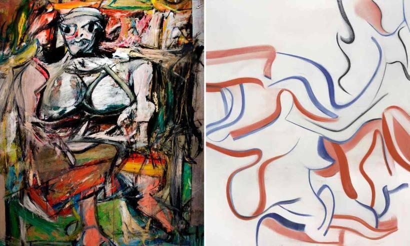 德·庫寧畫風比較:左/1950年的《女人I》(1950);右/1983年的《無題...