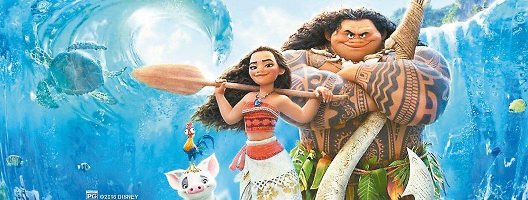 「海洋奇緣」取材於太平洋島嶼玻里尼西亞文化流傳許久的毛伊半神人故事。圖/迪士尼提...
