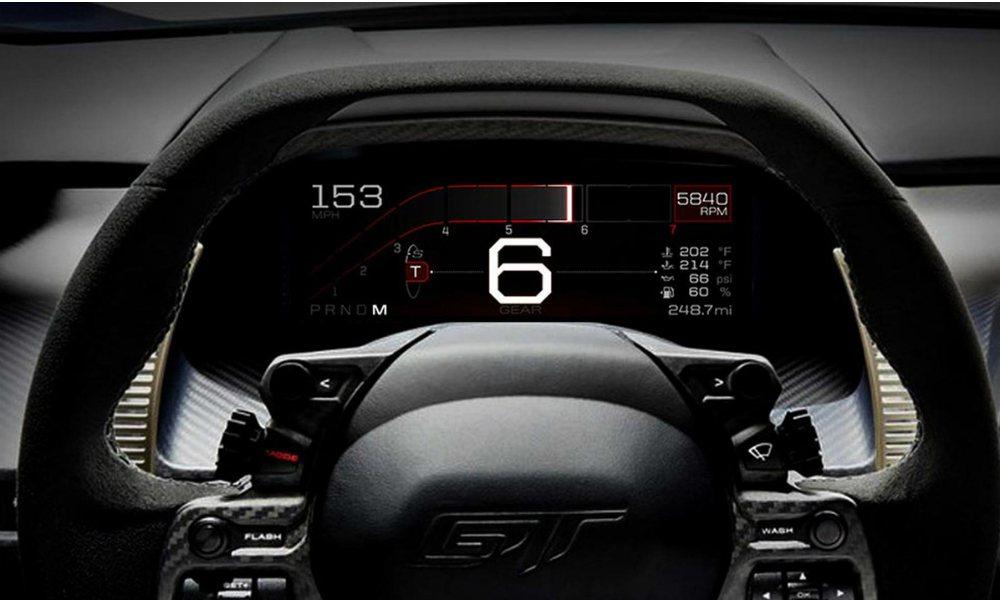 Ford GT 的全新數位儀表板,將增添更多熱血性能氛圍。 摘自 Ford