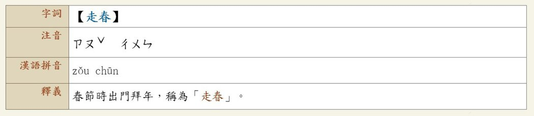 《教育部重編國語辭典》走春頁面。