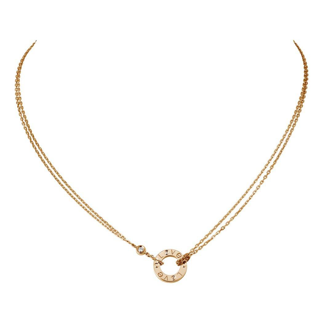 LOVE系列玫瑰金鑽石項鍊,玫瑰K金鑲嵌2顆圓形明亮式切割鑽石,約68,500元...