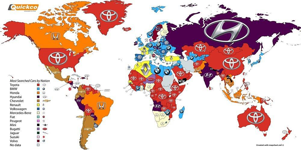 英國零配件供應商Quickco公佈了2016年在全球網路搜尋最熱門的汽車品牌,日本大廠TOYOTA是搜尋次數最多。 Quickco提供