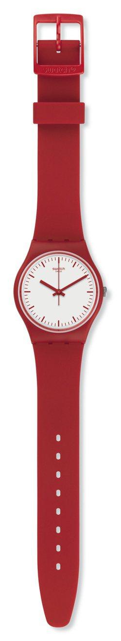 Swatch就是Swatch系列經典大紅腕表,1,600元。圖/Swatch提供