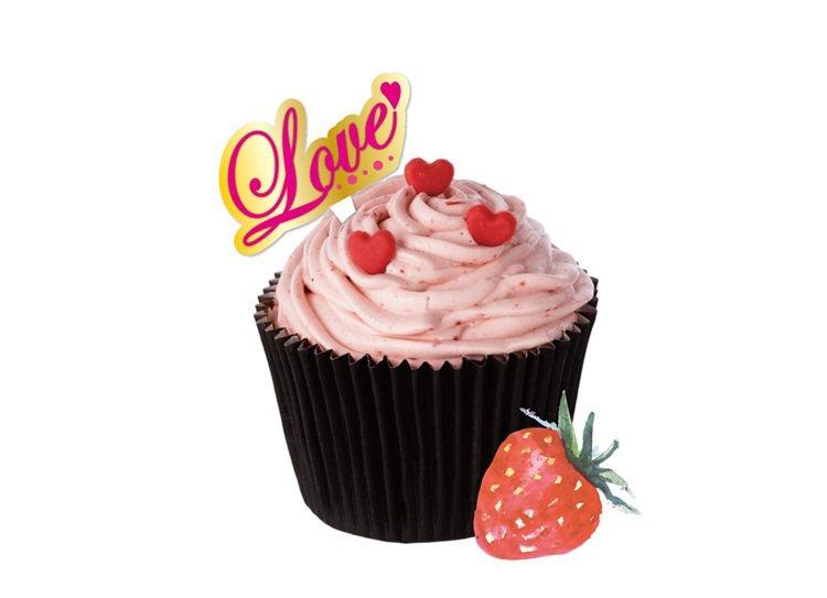 情人節限定草莓樂芙杯子蛋糕,售價45元。圖/Mister Donut提供
