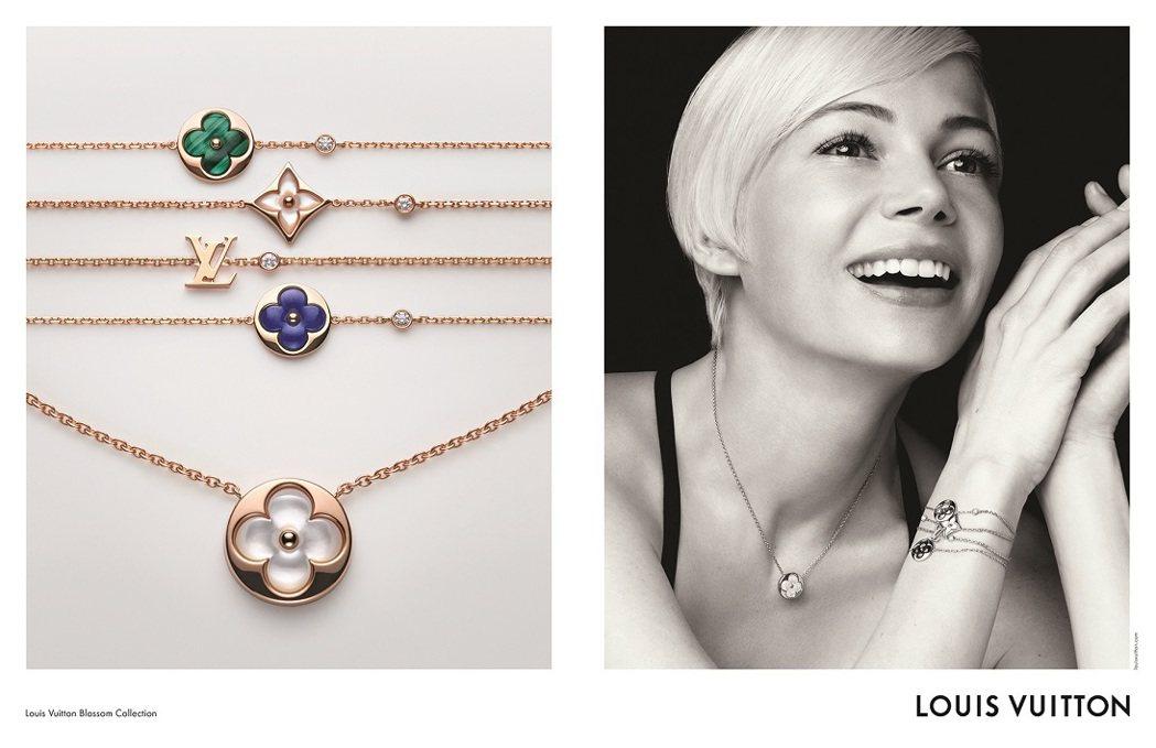 蜜雪兒威廉斯是首位為LV珠寶系列拍攝形象廣告的女星,配戴全新Color Blos...