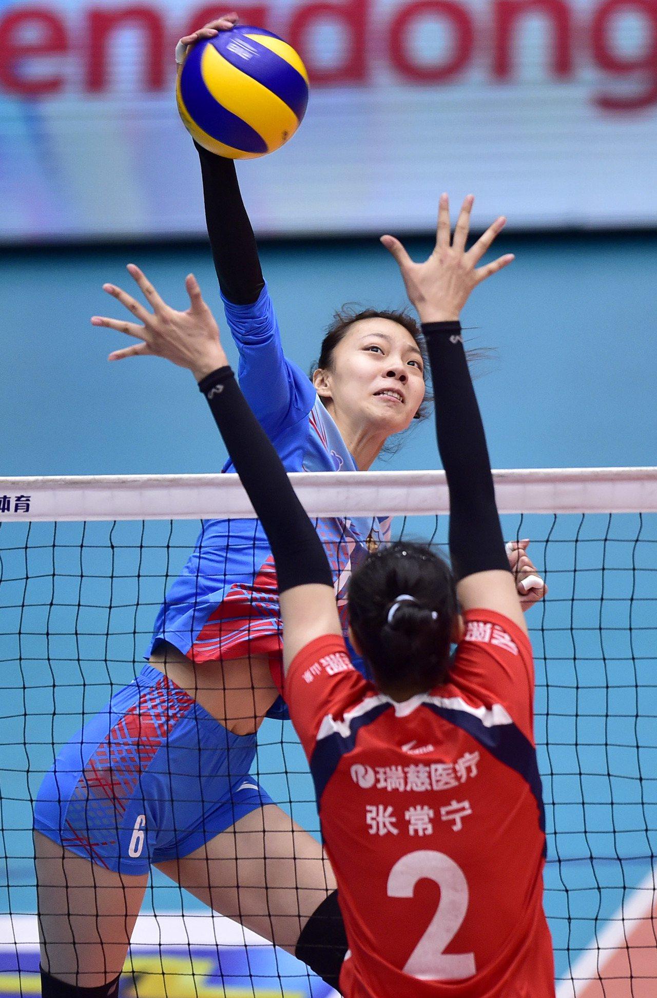 中國女子排球聯賽。 新華社