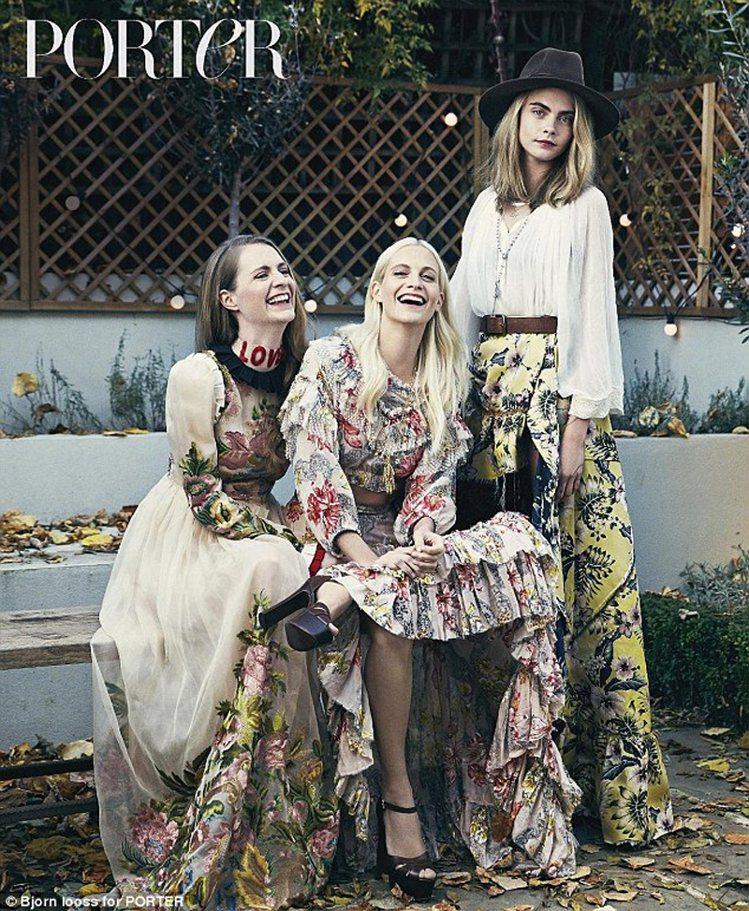 從左至右:Chloe Delevingne、Poppy Delevingne、C...