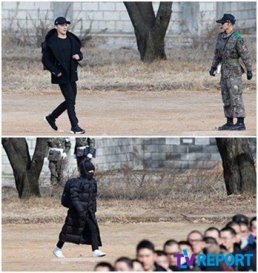 金俊秀(上)和T.O.P進入隊伍。圖/摘自tvreport