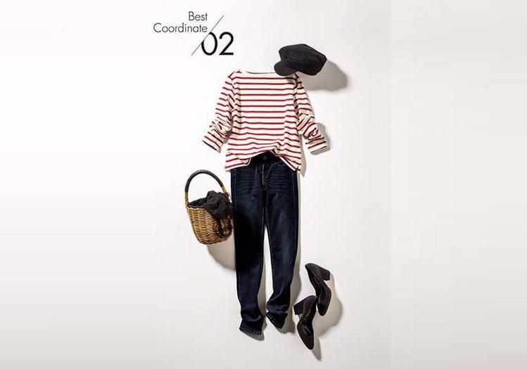 條紋船型領長袖T恤,590元;女裝特級彈性牛仔褲,1,490元。圖/Bella儂...