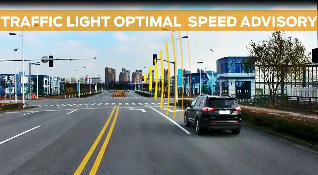 「交通號誌最適速度建議」科技有助提升旅途中的油耗經濟性,對整體交通流量最佳化也有所助益。 圖/福特六和提供