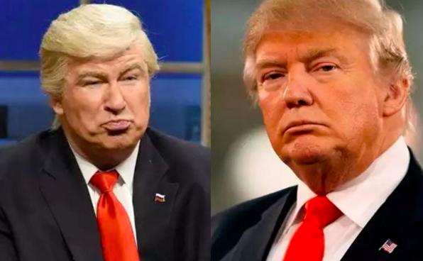 左為好萊塢老牌男星亞歷鮑德溫,在「週六夜現場」節目中,經常扮演的「假川普」。右為...