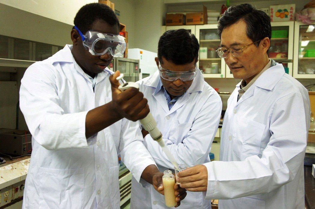 來自加勒比海巴貝多的伊榮(左一)在教授李清華(右一)指導下,專心試驗環保可攜式戶...