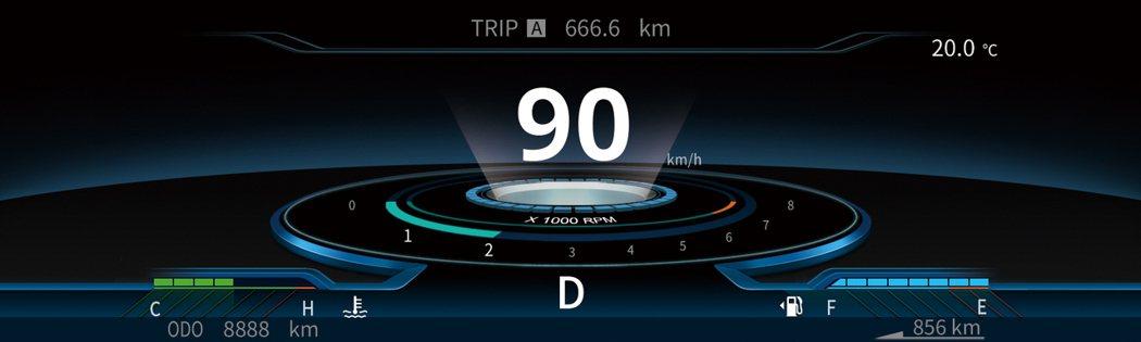GRAND LANCER SMART極智數位儀錶-星空模式。 圖/中華三菱提供