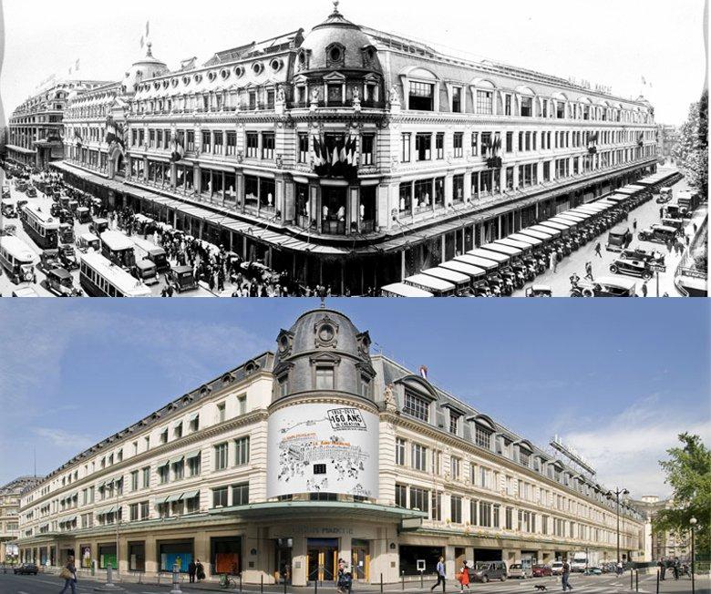 上為落成於1883年的巴黎樂蓬馬歇百貨公司;下圖為百貨公司現況。 圖/取自Le ...