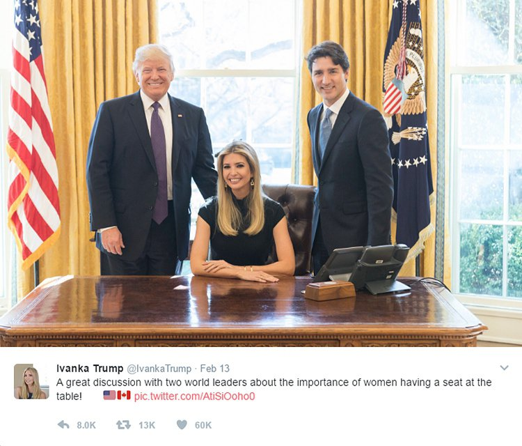 美國第一千金伊凡卡今天把她端坐白宮橢圓形辦公室總統大位,老爸川普與加拿大總理杜魯...