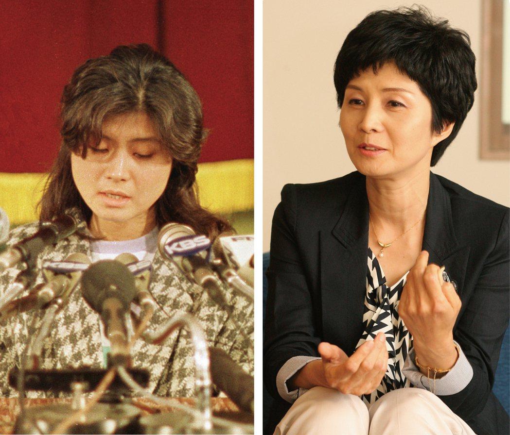 金賢姬(左)1988年在首爾出席記者會;2010年到東京探訪被北韓綁架的日本人家...