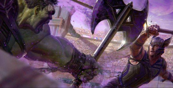 雷神索爾將與綠巨人浩克將在競技場再度展開對決。圖/取自於臉書