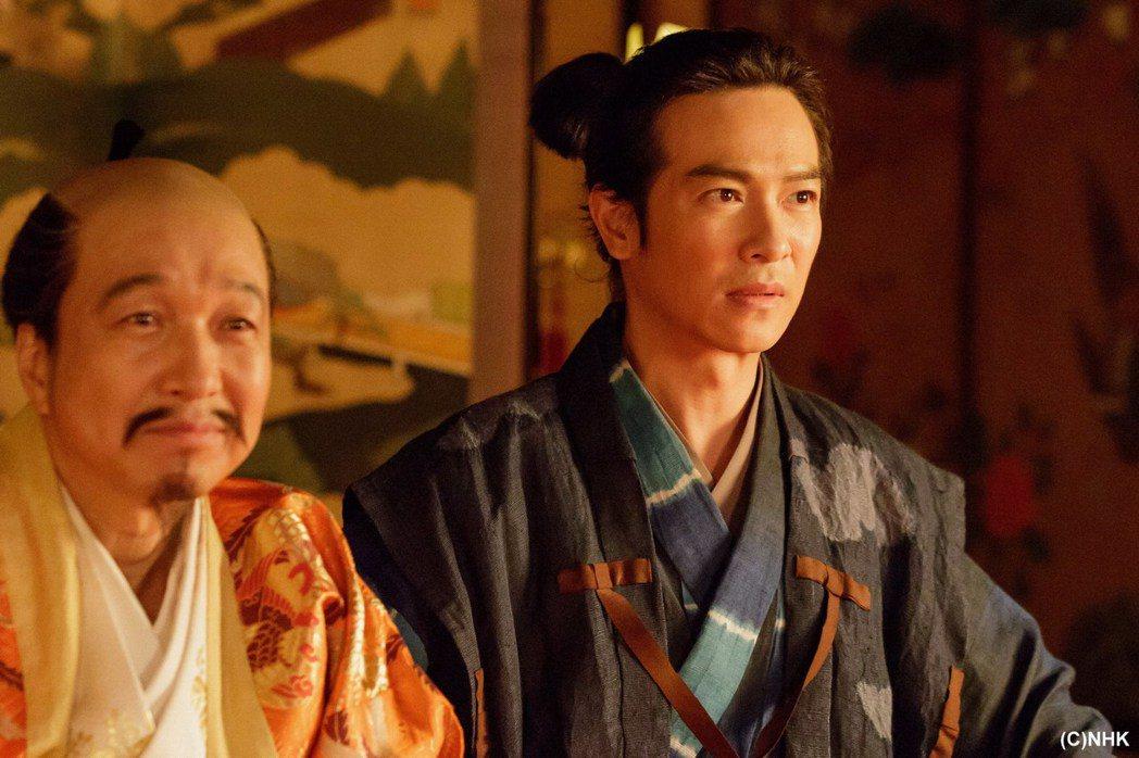 在「森田藥粧劇場 真田丸」中,堺雅人(右)侍奉小日向文世所飾演的豐臣秀吉。圖/緯