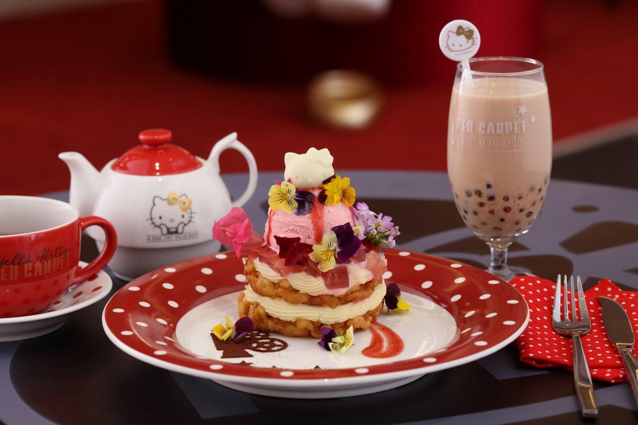 歡樂漩渦餅是該店招牌必點餐點之一。圖/Hello Kitty Red Carpe...