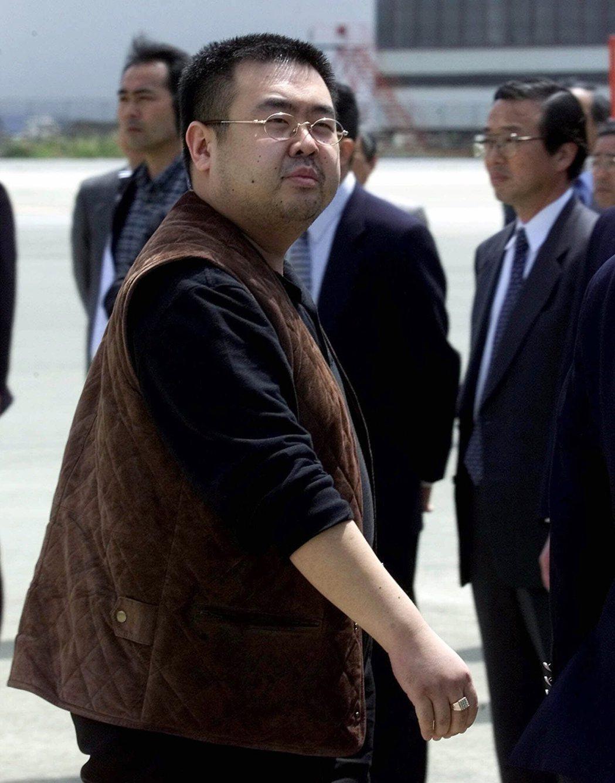 金正男2001年在東京成田國際機場準備搭機前往北京。 美聯社資料照片