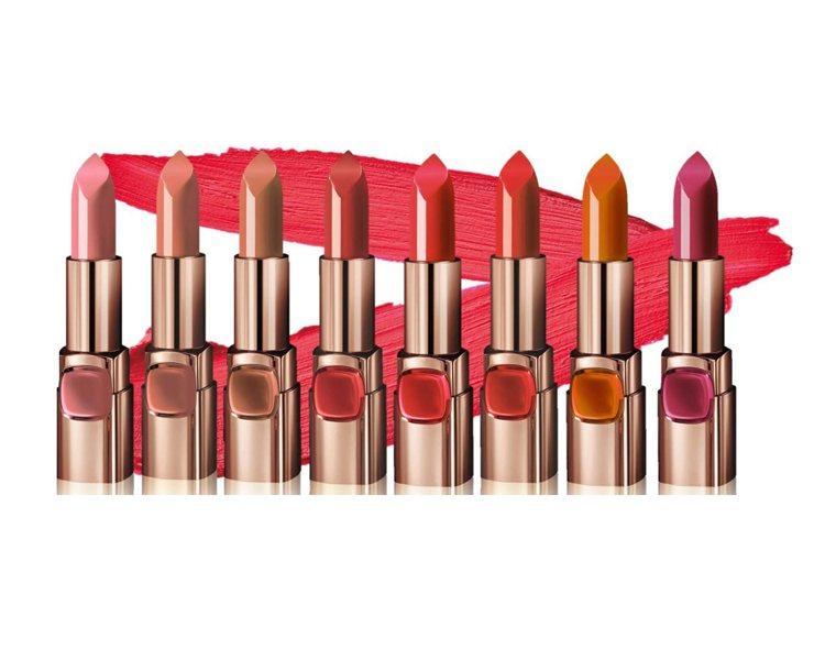 巴黎萊雅3月新推出純色訂製唇膏柔霧款,售價385元,共8色。圖/巴黎萊雅提供