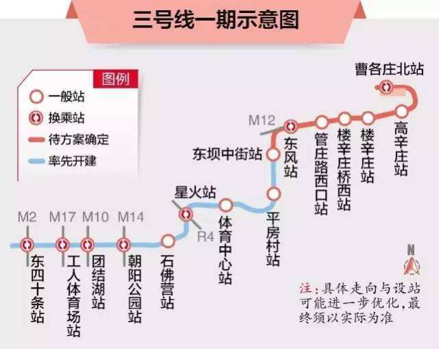 北京地铁3号线路线图,撷取自大陆央视新闻