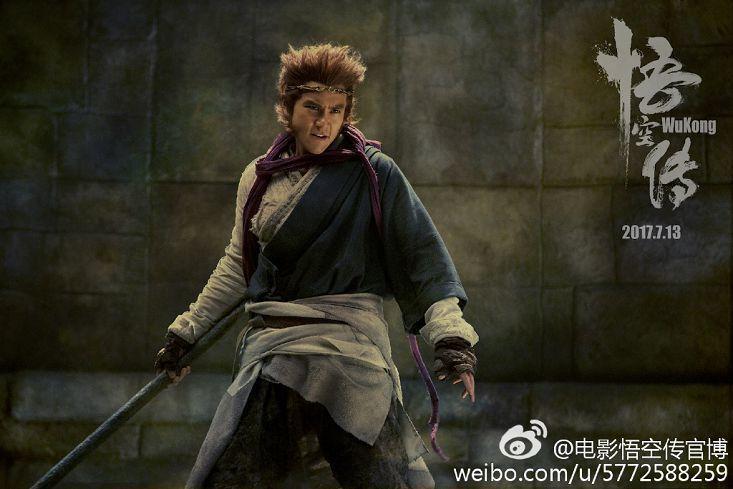 彭于晏在新片「悟空傳」中的孫悟空扮相基本上還是「人形」。圖/取自微博