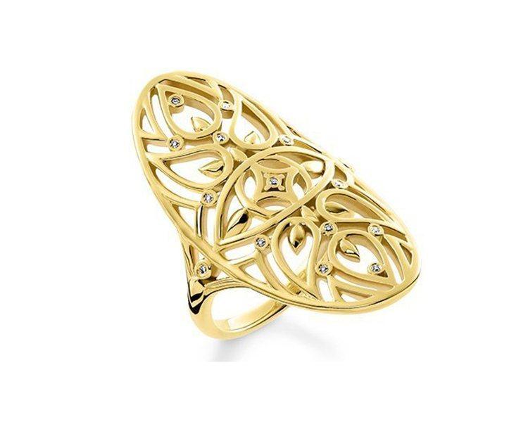18K金純銀真鑽葉片戒指,13,800元。圖/THOMAS SABO提供