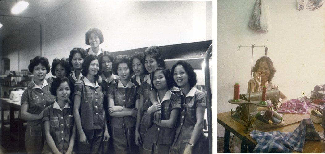 左:工廠女工。右:成衣製作(王秀鸞提供)。