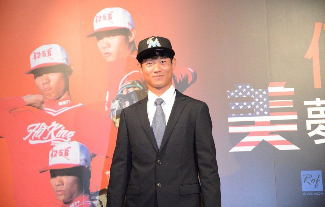 旅美邁阿密馬林魚隊小聯盟野手何紹彬在新人聯盟首場比賽就猛打賞。 聯合報系資料照
