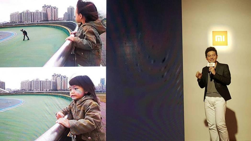 宥勝出席手機活動,秀出拍攝女兒蕾蕾的照片。記者陳立凱/攝影