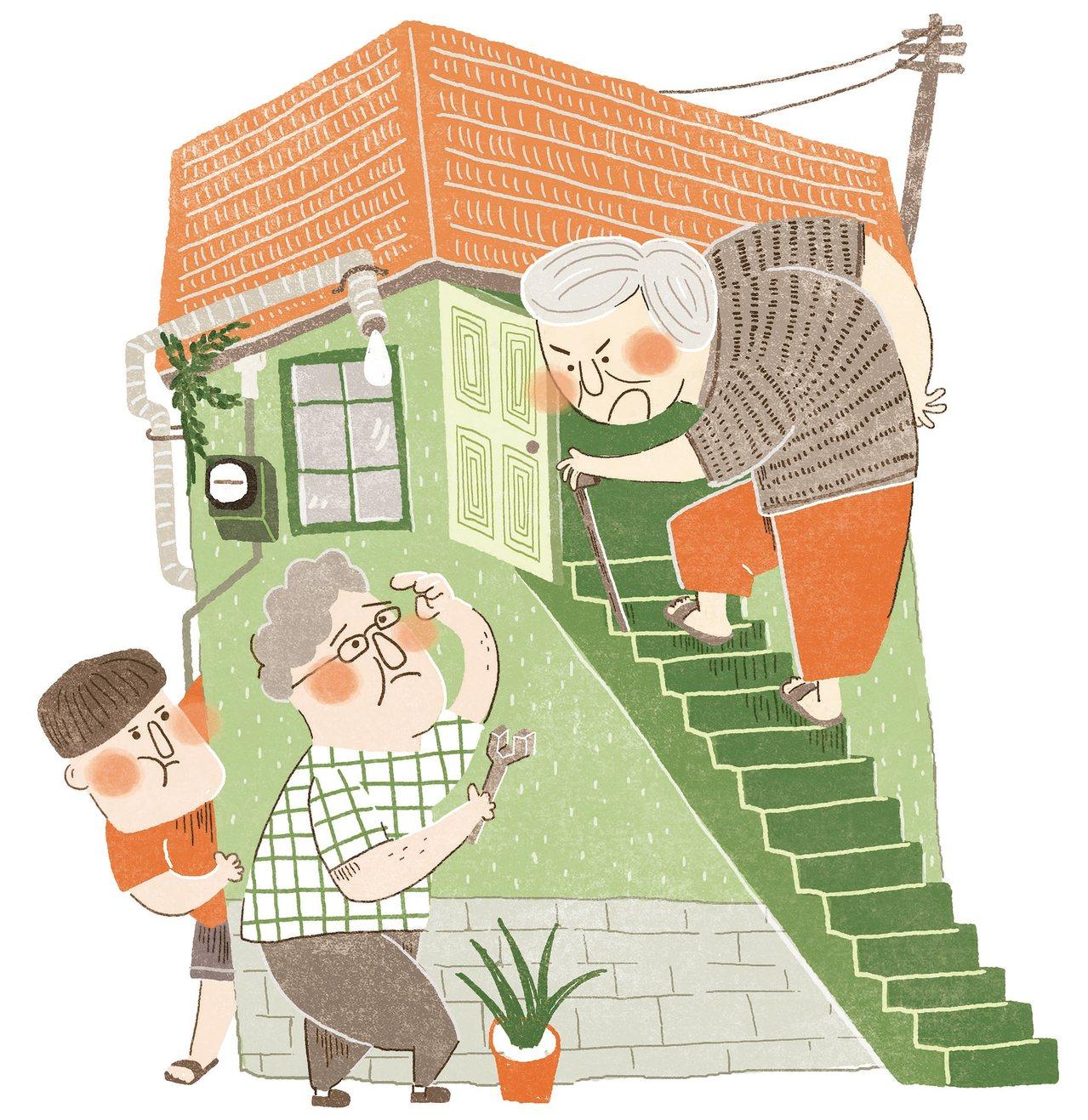 長輩們都老了,用緩慢而沉重的腳步生活,在家中輪流咚咚咚地上下樓,一波未停一波又起...