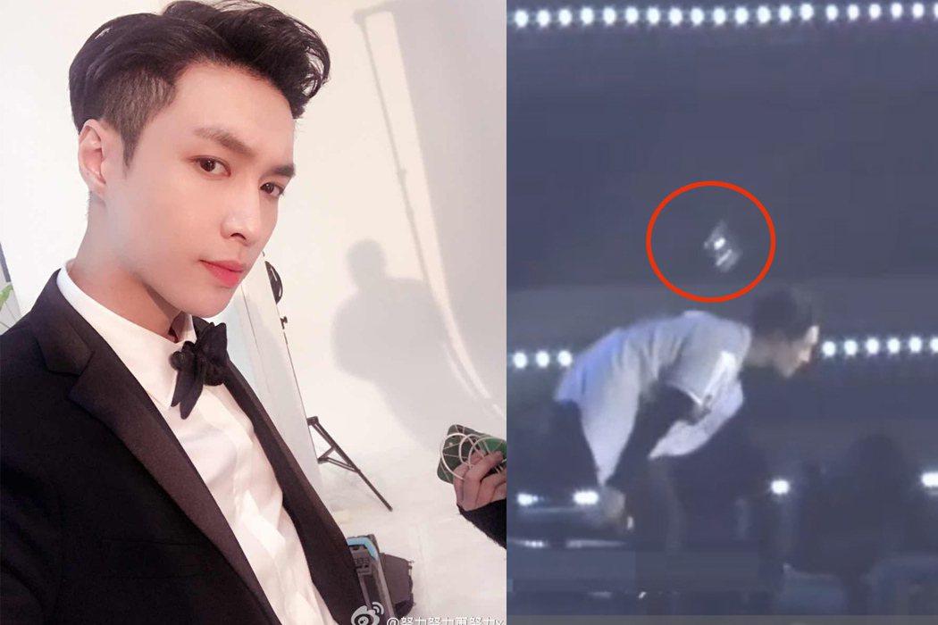 粉絲丟垃圾往台上丟,EXO張藝興差點被砸中。 圖/擷自微博、秒拍