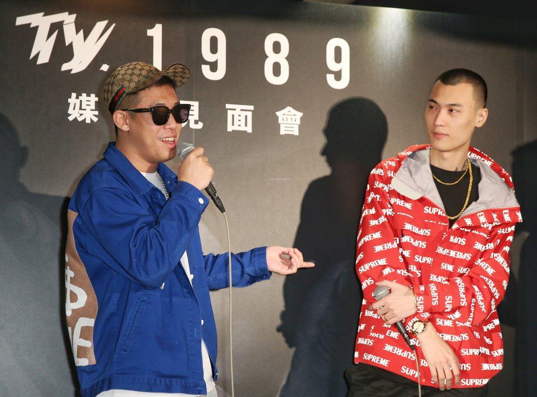 嘻哈天菜TY(右)出新專輯,用四川話唱RAP,師兄玖壹壹建志(左)站台。記者陳正...