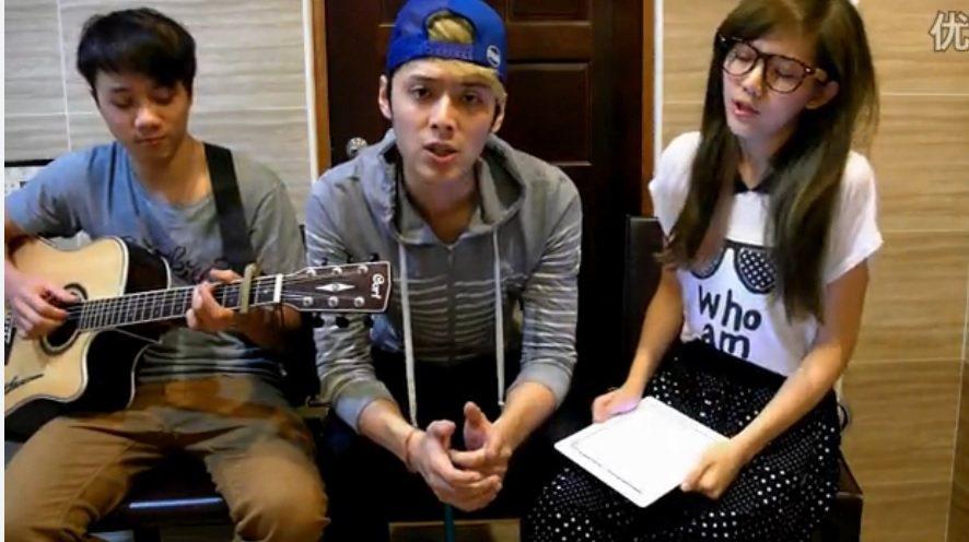 陳艾琳(右)和顏庭笙(中)錄製對唱影片。圖/截取自優酷網站