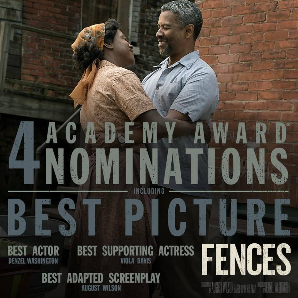 以「藩籬」入圍最佳男主角、最佳女配角的丹佐華盛頓與薇拉戴維斯。圖/取自臉書