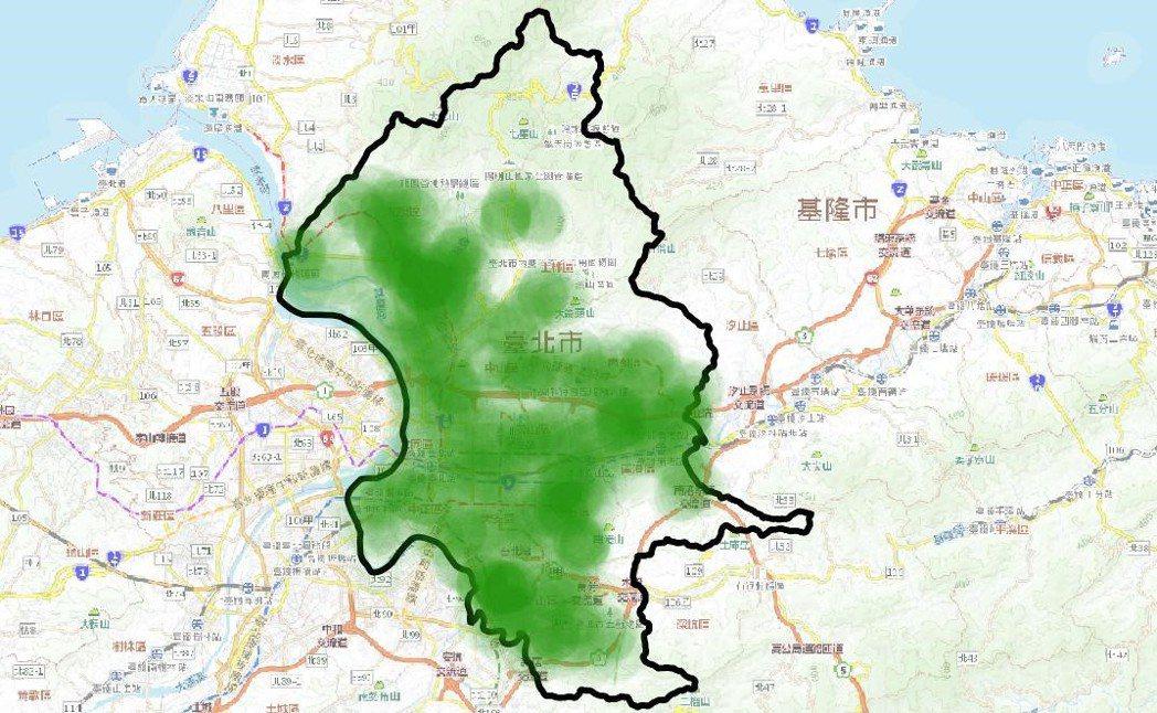 台北的綠地雖大致皆位於居住區15分鐘腳程內,但人均綠地面積低於WHO標準。 圖/...