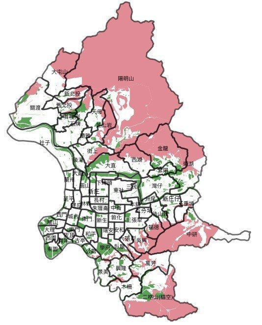 綠地採計的原則,在此以保護區(紅色)不採計,而採計公園綠地及其他綠化程度佳且對大...
