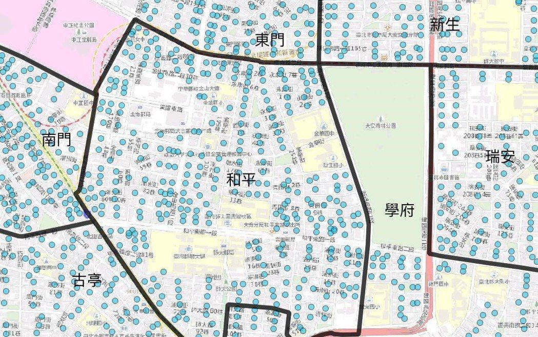 此外並假設人口均勻分布於住宅區與商業區土地,且市民會跨越次分區使用綠地。 圖/柯達提供