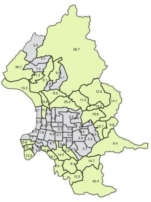 根據研究統計結果顯示,北市中心區的人均綠地面積大致皆低於WHO建議的9平方公尺。 圖/柯達提供