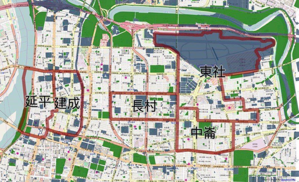 人均綠地面積最低的五個次分區,有無可能利用公有地(藍色)來改善? 圖/柯達提供